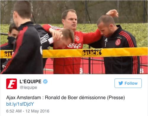 Ronald de Boer vertrekt bij Ajax