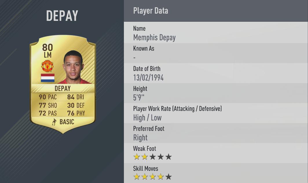 Memphis Depay rating FIFA 17