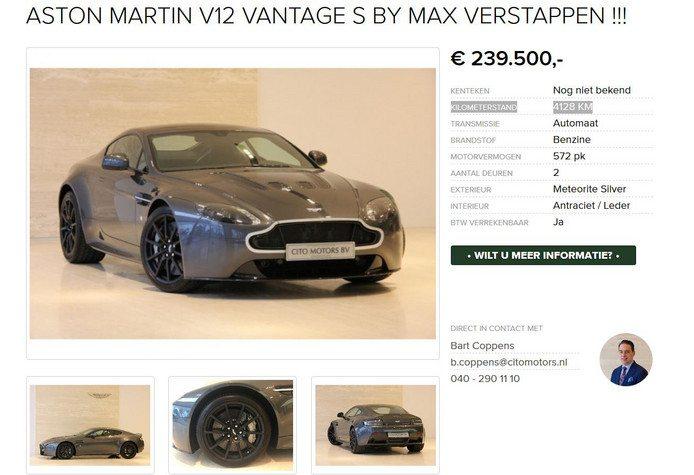 Max Verstappen zet Aston Martin te koop