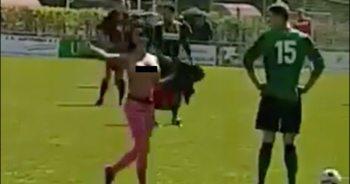 Rondborstige streaker verstoort kampioenswedstrijd