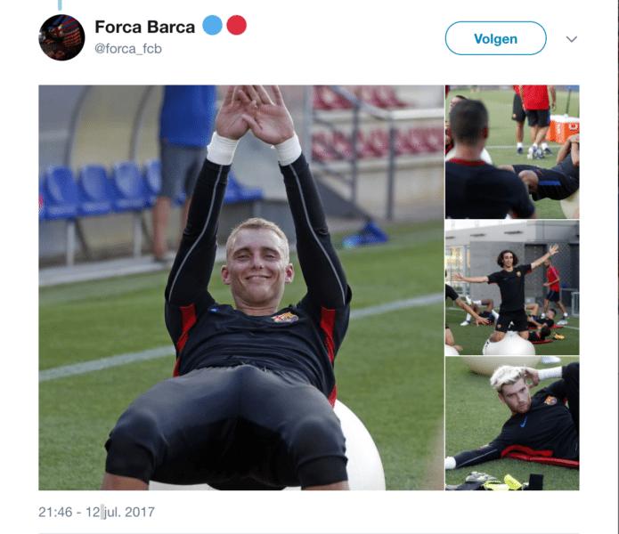 Cillessen wordt iets te blij van Barca-training