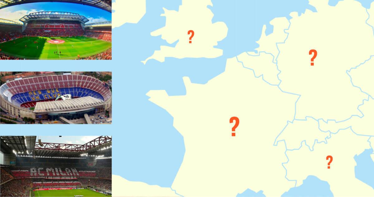 Kun jij deze beroemde stadions op een lege kaart aanwijzen?